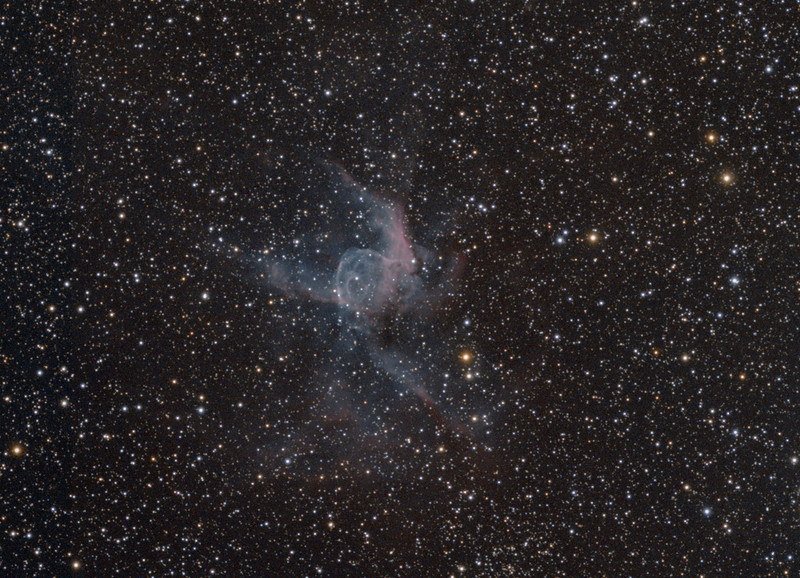 Thors Helmet...NGC2359. Taken with TEC140@f7 and ML8300. RGB with Ha all 2x2 bin (5x5mRGB and 5x15m Ha.)<br /> Taken by Lynn Hilborn, March 2011 at WhistleStop Obs, Grafton, Ontario.