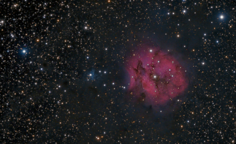 The Cocoon Nebula (IC 5146, S125). TEC 140 @f7 and ML8300 camera with Baader filters. Lum 1x1 9x 10m, RGB 2x2 9x5m. Taken on July 20,2012 by Lynn Hilborn, WhistleStop Obs, Grafton, Ontario