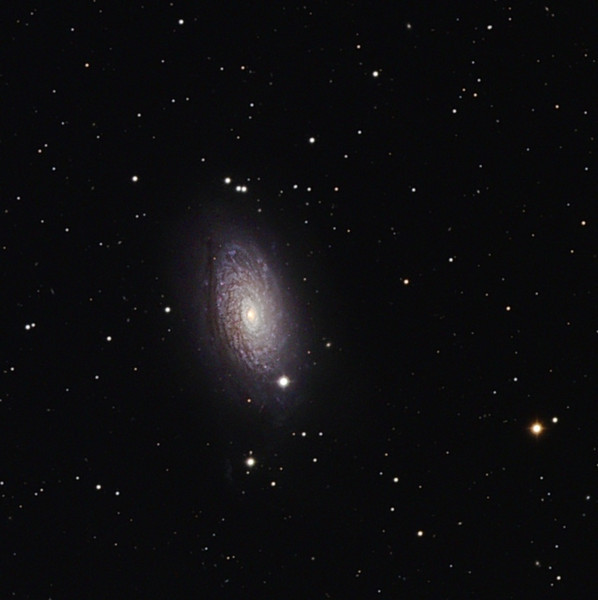 The Sunflower galaxy (M63). Taken by Lynn Hilborn,Grafton, Ontario on April 19, 2010. NP 101is and ML8300 camera.  L 120m RGB 40m each, all binned 1x1.