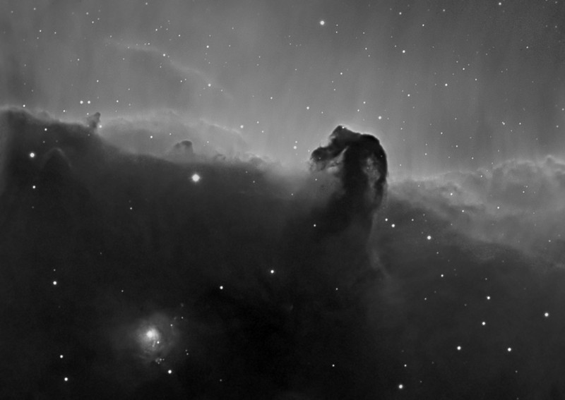 Horsehead nebula...Ha 4x30m bin 1x1, TEC140, ML8300 camera. Taken by Lynn Hilborn, WhistleStop Obs, Grafton,Ontario. Nov 5, 2011