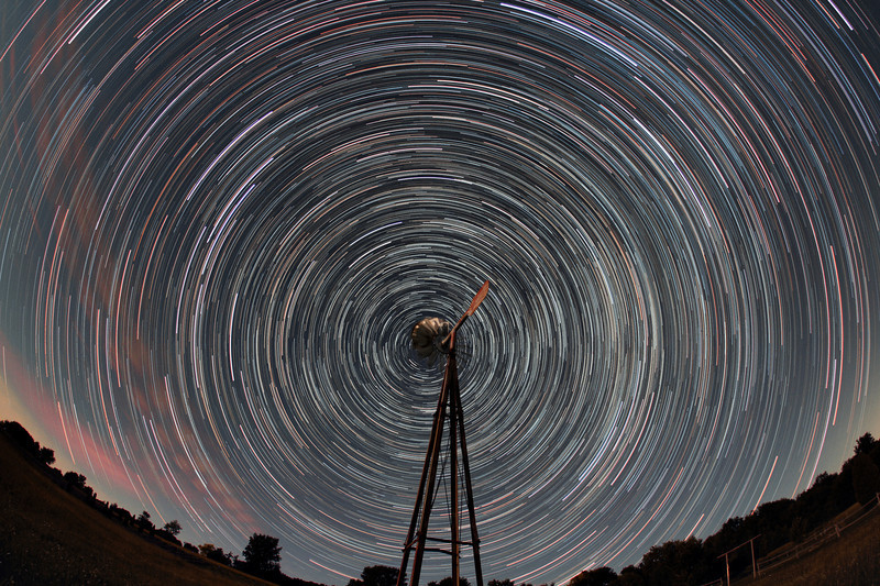 The world revolves around Shelter Valley...Shelter Valley Folk Festival star trails. 95 x 1 minute each, Canon 60D sigma 10mm lens @ f2.8, 1000 ISO. Taken by Lynn Hilborn, Grafton, Ontario on June 26, 2012.