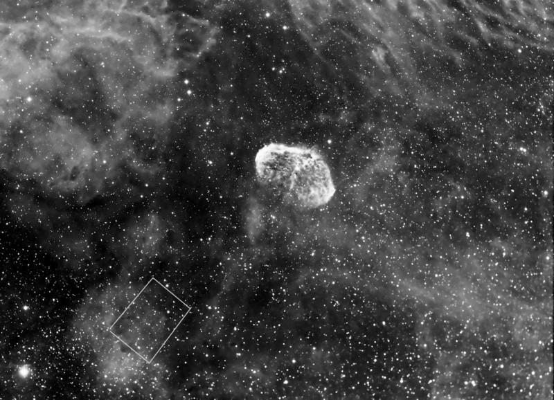 The cover story of the July edition of Sky and Telescope is about the finding of the Soap Bubble nebula by an amateur astronomer. Page 34 of the magazine had a picture which was almost the same field of view to one I took last September.  Above is my September shot and buried in the bottom left quadrant is this elusive object...boy is it faint. NP101is telescope and ML8300 camera. Exposure 14x15m in Ha.