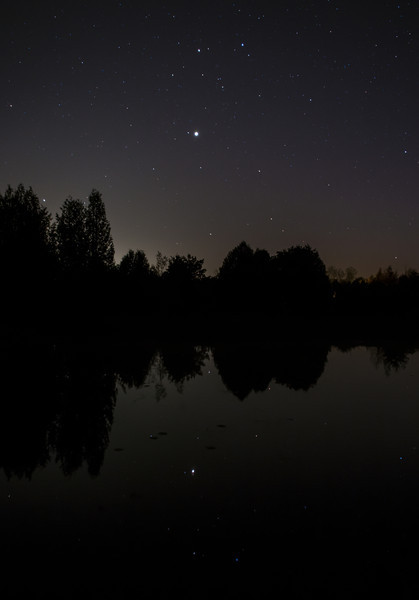 Reflections of Gemini and Jupiter...Canon 6d, Canon 24mm f2,8 lens at f4, 20 seconds 800 ISO.<br /> Taken by Lynn Hilborn,Grafton, Ontario, May 17, 2014.