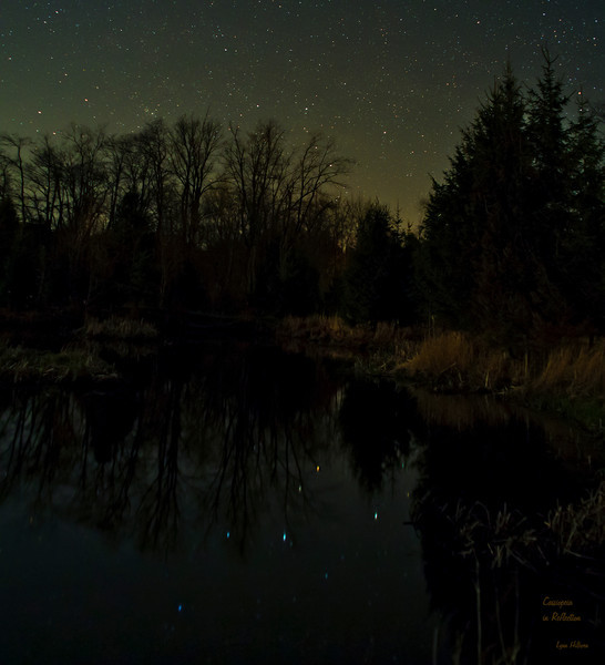 Colourful Cassiopeia in Reflection<br /> modified Canon 6D with Canon 24mm f2.8 lens at f3.5, 25 seconds at ISO1600.<br /> 24 hours after attending a wonderful lecture at Astrocats given by Wally Pacholka...I bought a used 24mm lens and went to a local pond.<br /> Picture by Lynn Hilborn, Grafton, Ontario. May 4, 2014.