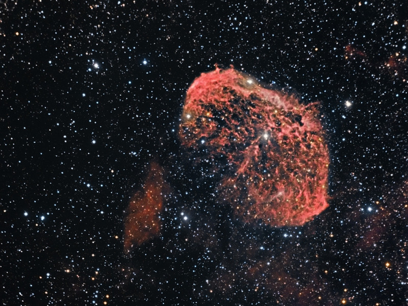 Crescent Nebula  3 hours of Ha and 30m each RGB. Taken May 24 with  C 9.25 @ f6.3 and ML 8300 camera.<br /> Whistle Stop Obs.