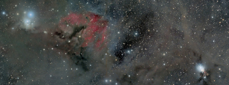Giant molecular cloud and dust lanes in Perseus. On the left is IC348  a bright young cluster settled in the reflection nebula of this giant cloud.  On the right side of this 2 frame mosaic is NGC 1333 and area of star birth surrounded by dark lanes of cosmic dust.<br /> Each frame is 9 hours of exposure for a total 18 hours over 5 nights in October and November 2010.  Taken by Lynn Hilborn, WhistleStop Observatory, Grafton, Ontario. NP 101is telescope @f4.3 and a FLI ML8300 camera. Image is LRGB and Ha all binned 1x1. (Editor's Choice ,Photo Gallery- Sky and Telescope magazine; published in Sky and Telescope magazine, May 2011 edition; published as back cover RASC Journal April 2011; Astronomy Magazine 'Picture of the Day')