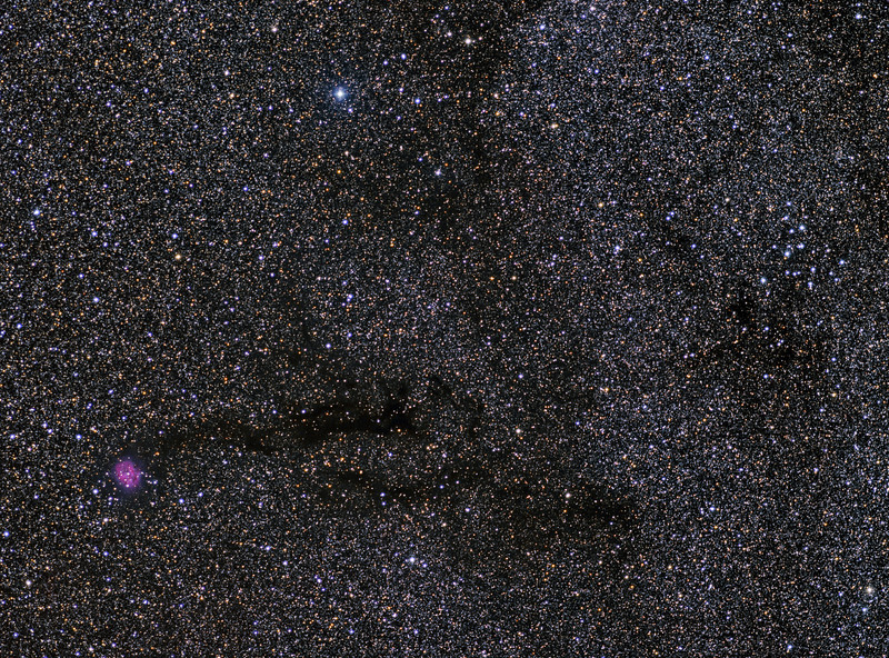 Cocoon Nebula (IC5146) and M39. Taken with a 200mm Canon f2.8 lens and FLI ML8300 camera.  RGB each 12x5m, Lum 16x10m, Ha 3x15m .<br /> Taken by Lynn Hilborn, WhistleStop Obs,Grafton,Ontario on July 13,14,15, 2013. Baader filters and a NJP Temma2 mount.