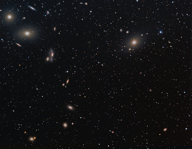 "Full frame - 9 hours of Markarian's Chain ( note galaxy jet coming tight from the core of M87)...to be viewed in ""Original"" size to get the best impact...Luminance 270 minutes, RGB 90 minutes each. NP101is @ f4.3 and FLI ML8300 camera. Taken over 3 nights March/April 2010 by Lynn Hilborn, Grafton, Ontario (Photo appeared in the March/April 2011 SkyNews magazine)."