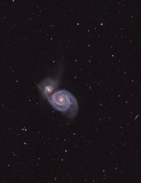M51 Whirlpool Galaxy.  TEC140 @f7 and FLI ML8300 camera, 70m L,60m each RGB, 120m Ha all binned 1x1.<br /> Taken March 2011 by Lynn Hilborn, WhistleStop Observatory, Grafton, Ontario.
