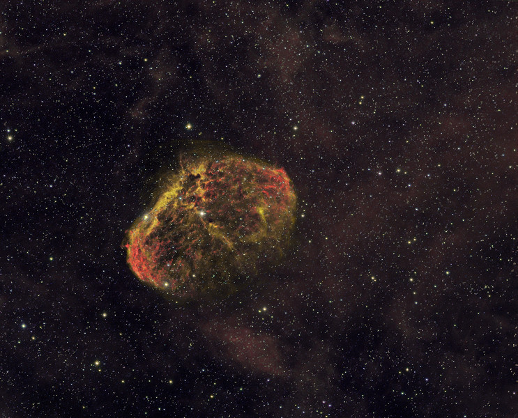 Crescent Nebula in Narrowband using CFHT mix Ha-OIII-SII for RGB. Bin 1x1 HA 4x30m, OIII 6x30m, SII 3X30m.<br /> TEC 140 @ f5.6 and FLI ML8300 camera.<br /> Taken by Lynn Hilborn, WhistleStop Obs, Grafton,Ontario August 11 and 29, 2011.