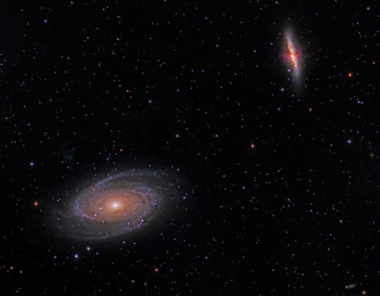 Galaxies M81 and M82 reprocessed February 2013.<br /> Taken by Lynn Hilborn on Feb 22, 2011..RGB 5mx12,L 10mx16,Ha 20mx6 all 2x2 TEC140 @f7, ML8300 camera. WhistleStop Obs, Grafton,Ontario<br />  In this stunning cosmic vista, galaxy M81 is on the left surrounded by blue spiral arms. On the right marked by massive gas and dust clouds, is M82. These two mammoth galaxies have been locked in gravitational combat for the past billion years. The gravity from each galaxy dramatically affects the other during each hundred million-year pass. Last go-round, M82's gravity likely raised density waves rippling around M81, resulting in the richness of M81's spiral arms. But M81 left M82 with violent star forming regions and colliding gas clouds so energetic the galaxy glows in X-rays. In a few billion years only one galaxy will remain. Description from APOD (Astronomy Photo of the Day).
