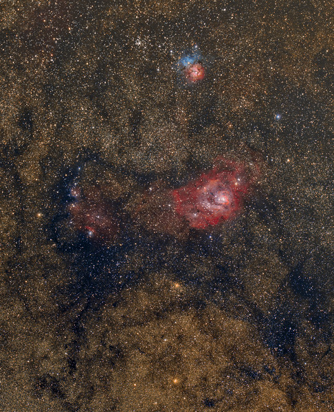 Lagoon and Trifid Nebula ( M8 and M20), TS 71 @f5, Canon 6d, 30 x 240 seconds at 1600ISO.<br /> Captured in BYEOS,preprocessed in Nebulosity and Registar, processed in Lightroom and CS6.<br /> June 21 and 23, 2015, Taken by Lynn Hilborn, WhistleStop Obs,Grafton,Ontario.