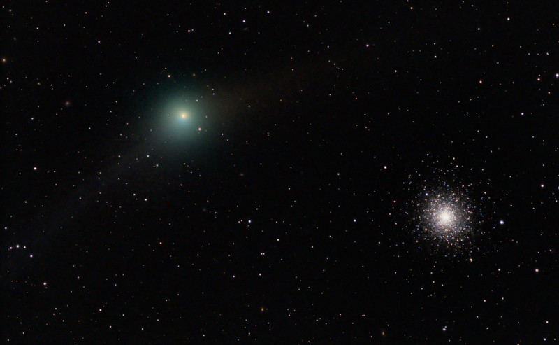Garradd, galaxies and a globular....Comet Garradd ((C2009 P1), background galaxies and globular cluster M92.  Lum 1x1 300seconds, RGB 2x2 each 120 seconds. TEC 140 @ f5.6 and FLI ML8300 camera at -30. Taken by Lynn Hilborn, February 3, 2012 at 4am, WhistleStop Observatory, Grafton, Ontario.<br /> When comets float by deep-sky objects, the combination can be beautiful. But it's also deceiving. Here, Comet C/2009 P1 (Garradd) passes globular cluster M92, which lies in the constellation Hercules. At the time of this image, Comet Garradd shone at magnitude 7.1 and was approximately 154 million miles (248 million kilometers) from the Sun. M92, on the other hand, shines at magnitude 6.5 and lies some 26,000 light-years away — 990 million times more distant than the comet! <br /> Image was published in SkyNews magazine (May/June 2012)