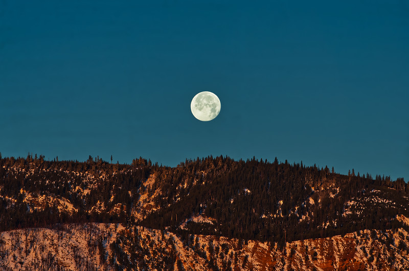 Lake Chelan December Morning Moon
