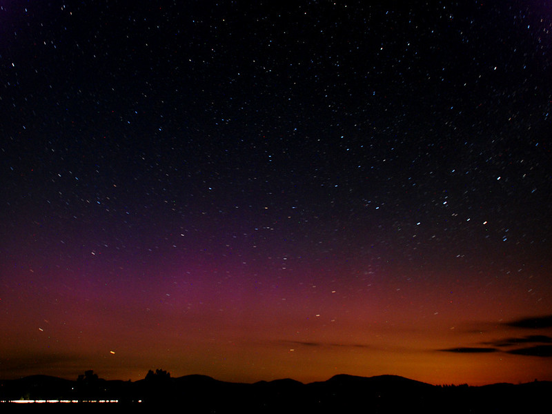 Aurora Borealis from June 16, 2012. Yellow dots in front are fireflies