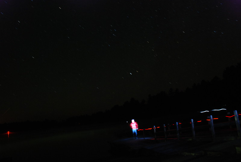 Painting with light, self-portrait on dock - Upper Saranac Lake north boat launch