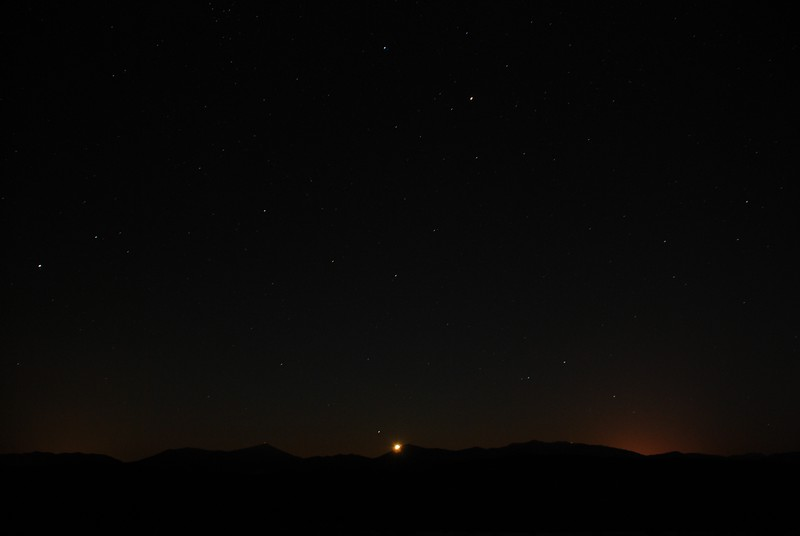 Moon rise over the High Peaks from Harrietstown Hill - Jan 15, 2012