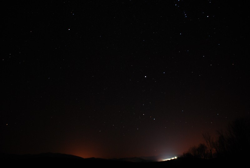 Stars over the High Peaks, Mount Pisgah in lights - Jan 15, 2012