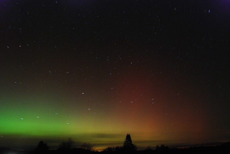 """Aurora borealis over Gabriels, NY Oct 24, 2011 - multiple images stacked with StarStaX ( <a href=""""http://www.starstax.net"""">http://www.starstax.net</a>)"""