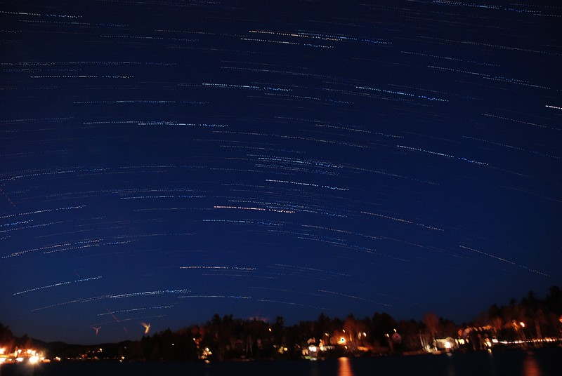 Star Trails over Lake Flower as dawn approaches. Saranac Lake - March 27, 2012