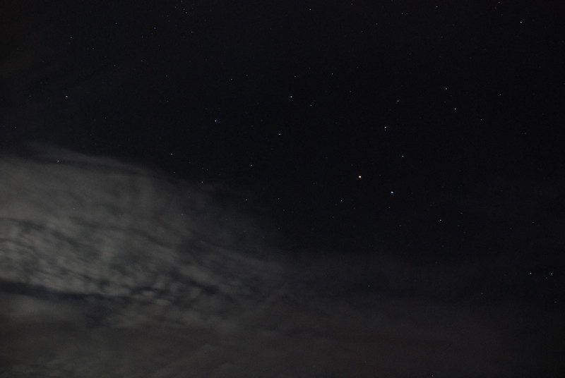 Mars and Regulus in constellation Leo • Moonlit clouds