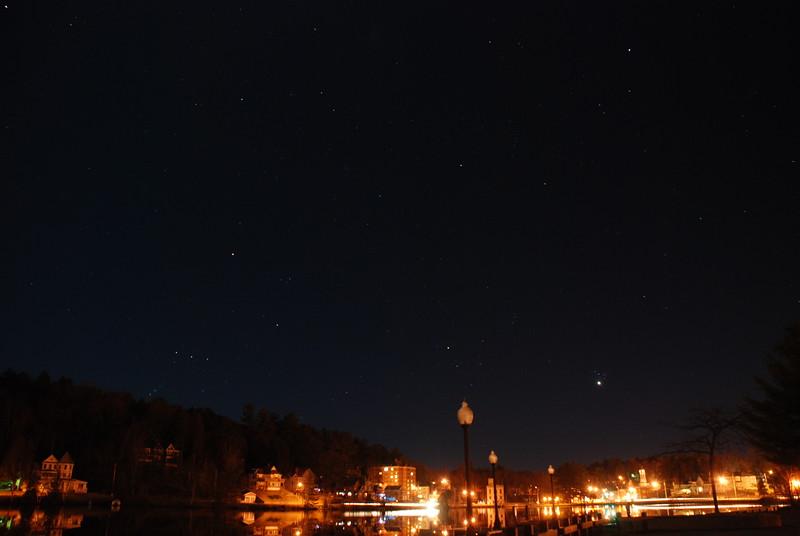 Venus, Pleiades & Orion set over Main Street, Saranac Lake - April 2, 2012