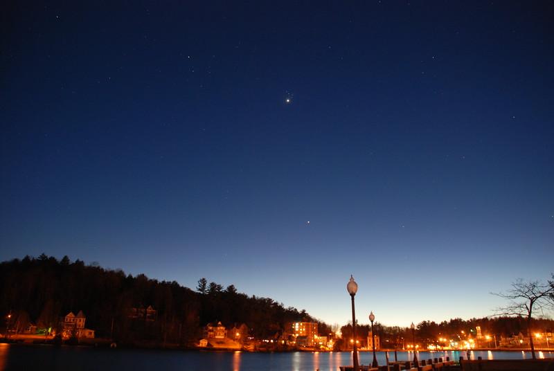Venus and Pleiades over Main Street, Saranac Lake - April 2, 2012