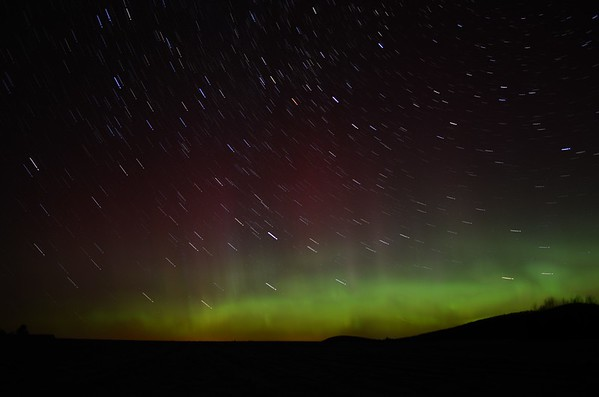 Star Trails and Aurora borealis as seen from Gabriels, NY on November 14, 2012