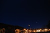 Venus, Pleiades & Orion set over Main Street, Saranac Lake - April 2, 2012