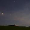 Deer on the horizon on a moonlit night, with stars, Venus, and Pleiades overhead - Leavitt's Farm, Gabriels, NY