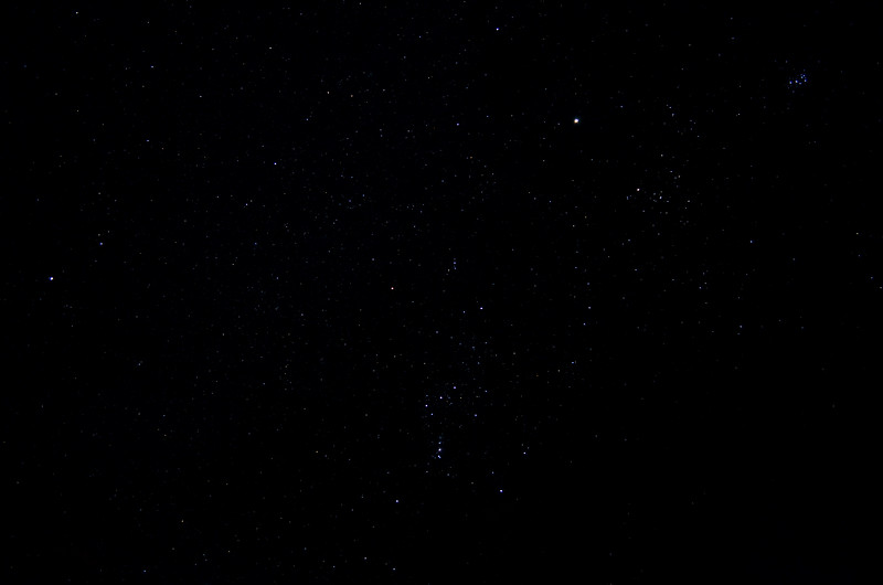 Orion, with Pleiades in upper right corner, October 25, 2012
