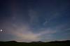 Stars on a moonlit night: Venus, Pleiades, airplane, the light on Whiteface, and three deer on the horizon (lower left) - Leavitt's Farm, Gabriels, NY