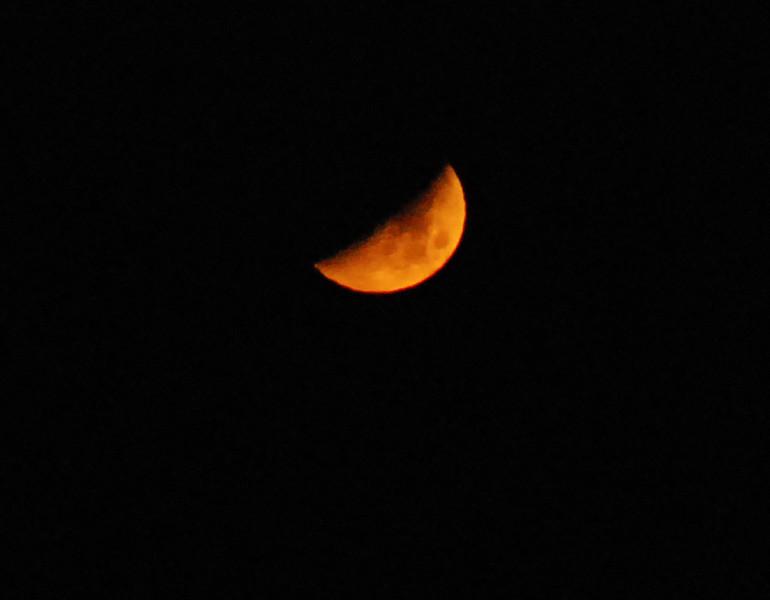 Crescent moon (close-up) setting over Upper Saranac Lake Nov 1 10:19pm