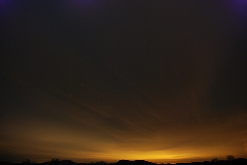 Cloudy night sky over Gabriels, NY