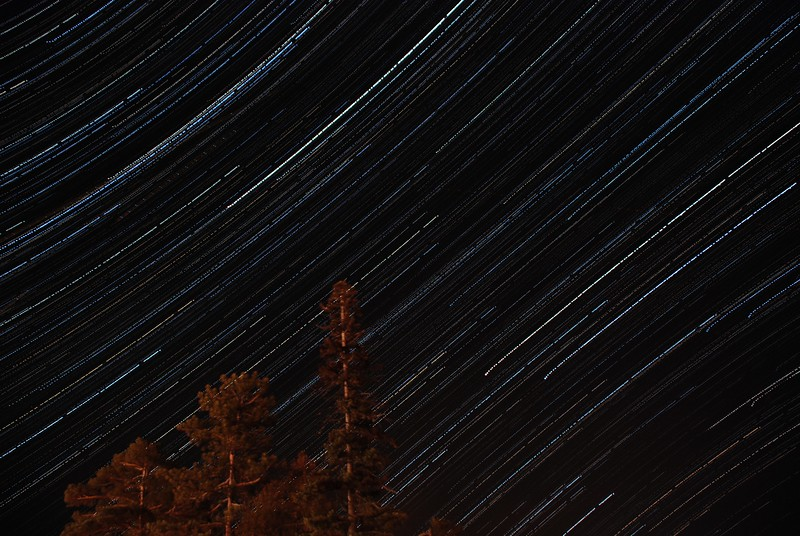 Star trail south from Lake Flower - April 13, 2012 10PM-1:30AM