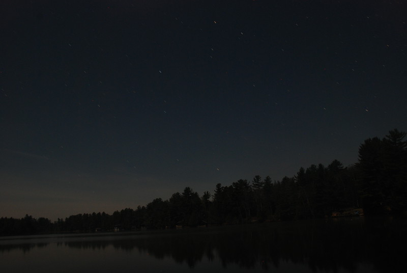 Upper Saranac Lake North Launch - 11/11/11<br /> Lake and stars in the moonlight