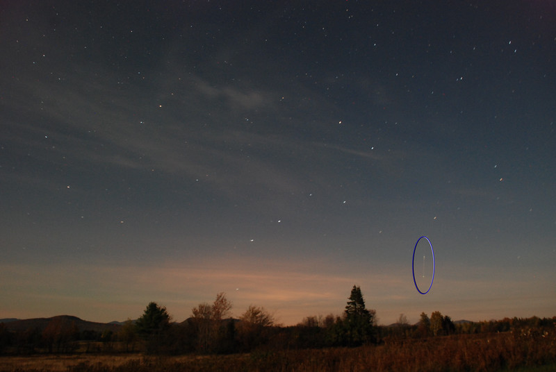Moonlit landscape with meteor (highlighted), 2AM, over Gabriels, NY