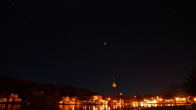 Video: Venus, Pleiades & Orion set over Main Street, Saranac Lake - April 2, 2012