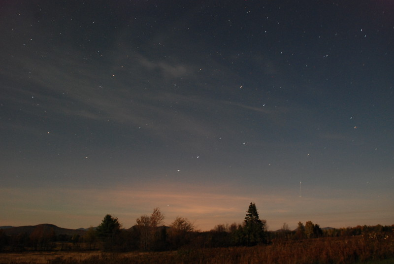 Moonlit landscape with meteor, 2AM, over Gabriels, NY