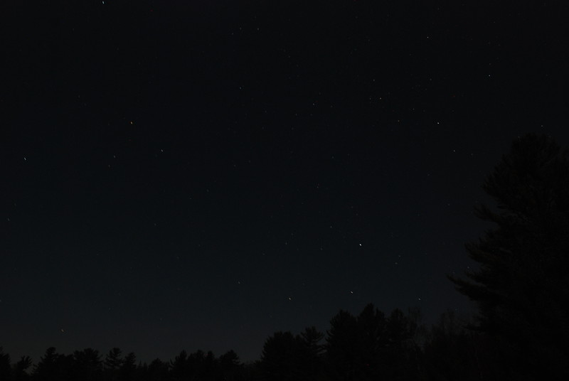 Upper Saranac Lake North Launch - 11/11/11<br /> Stars and trees in the moonlight, SSW sky
