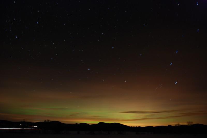 Aurora borealis north from Harrietstown, Jan 22, 2012