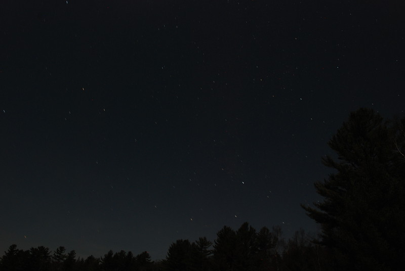 Upper Saranac Lake North Launch - 11/11/11<br /> Trees and stars in the moonlight, SSW sky