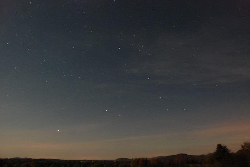 Moonlit landscape and stars near Gabriels NY around 2AM