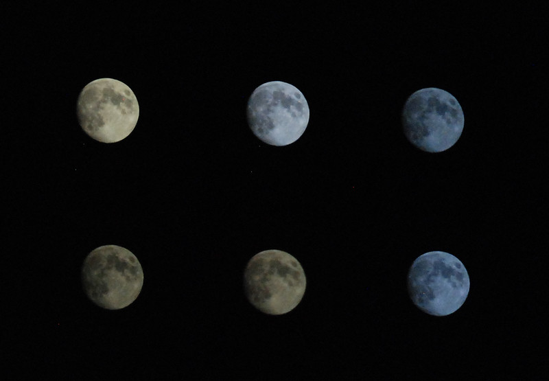 Oct 9 2011 PM Collage of moon shot through rotating circular polarizing filter and varying shutter speeds