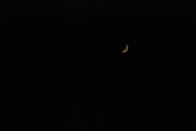 Crescent moon in Adirondack sky - November 1 8:27PM