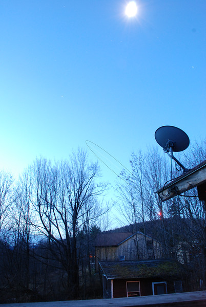 November 11, 2011 6:15am - passing of ISS in timed exposure. That is moon in sky. ISS trail highlighted by oval