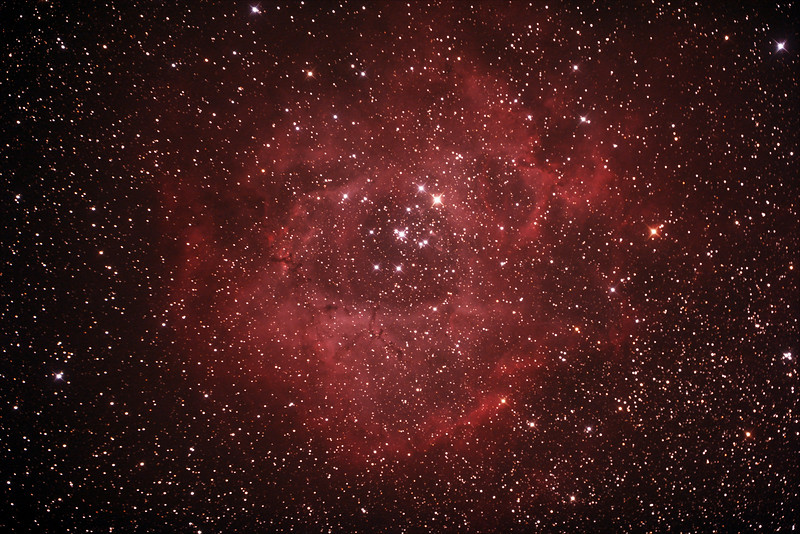Caldwell C49 & C50 - NGC2237-9,NGC2244, 2246 - Rosette Nebula and Open Cluster in Monoceros - 29/12/2018 (Processed Stack)