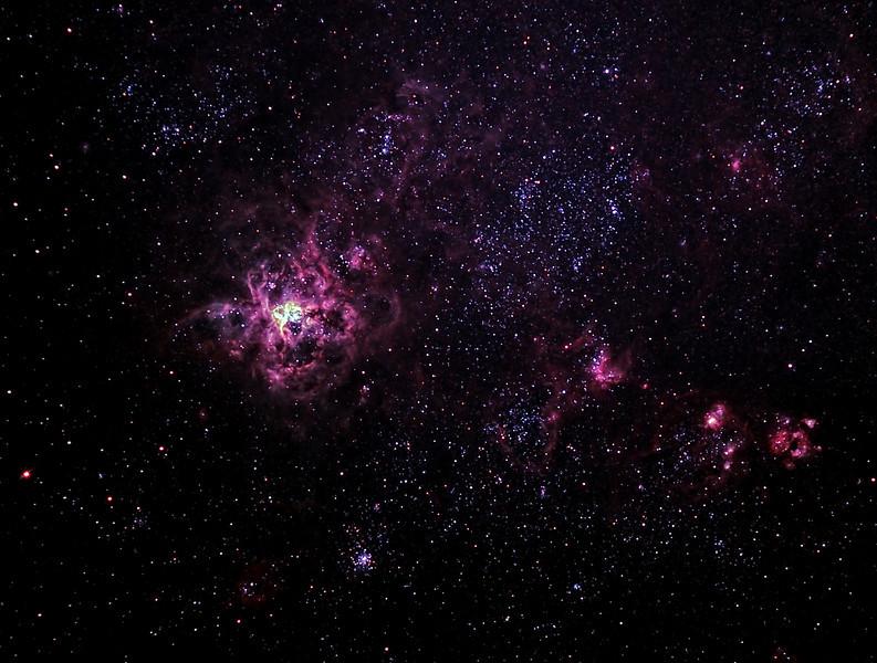 Caldwell 103 - NGC2070 - 30 Doradus Tarantula Nebula - 24/12/2011 (Colour enhanced Processed cropped stack)