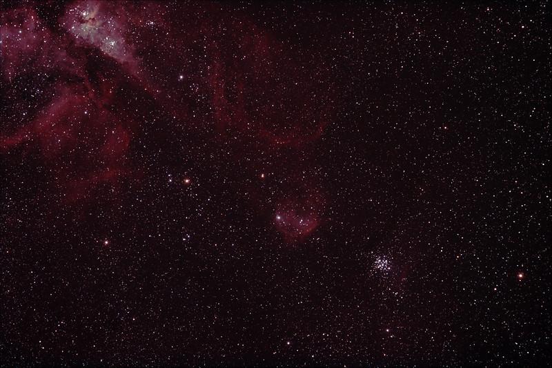 Caldwell 92 - NGC3293 - The Little Jewel Box and IC2599 Nebula in context to the Eta Carina Nebula - 4/3/2012