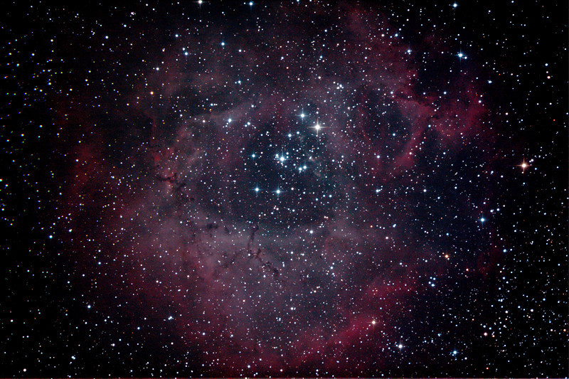 Caldwell 49 & 50 - NGC2237-9,NGC2244, 2246 - Rosette Nebula and Open Cluster in Monoceros - 8/2/2013 (Processed stack)